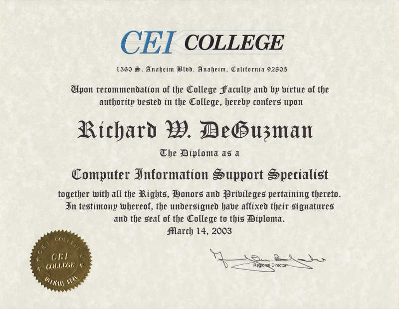 CEI College Diploma as a Computer Information Support Specialist