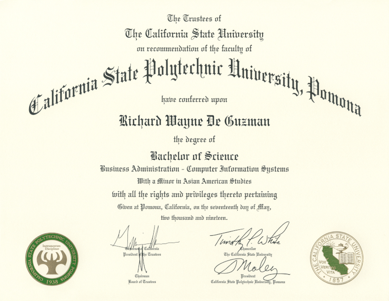Cal Poly Pomona Bachelor of Science Degree in Business Administration with an option in Computer Information Systems and with a minor in Asian American Studies