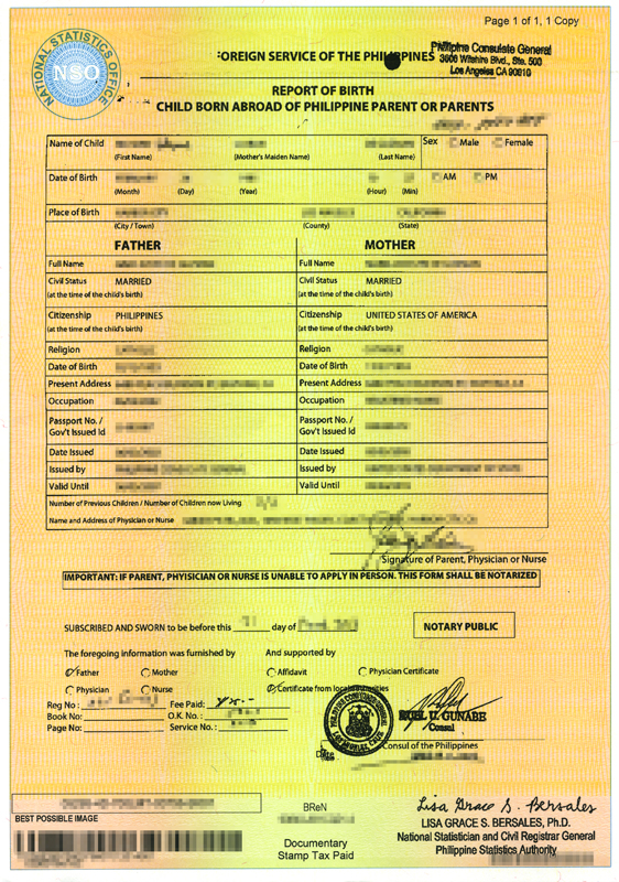 richarddeguzman | philippines psa (nso) report of birth / birth